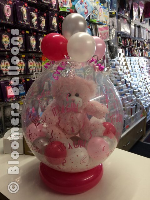 Baby Girl Bear in Balloon