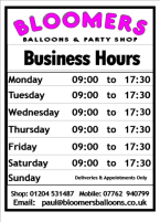 Bloomers Balloons Opening Hours